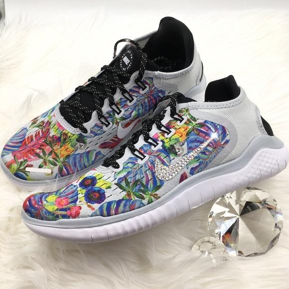 7bd730ce7de5 Swarovski Nike Free RN Floral Print Bling Shoes
